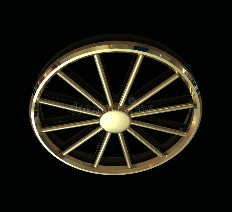 3d golden wheel. Isolated on a black background vector illustration