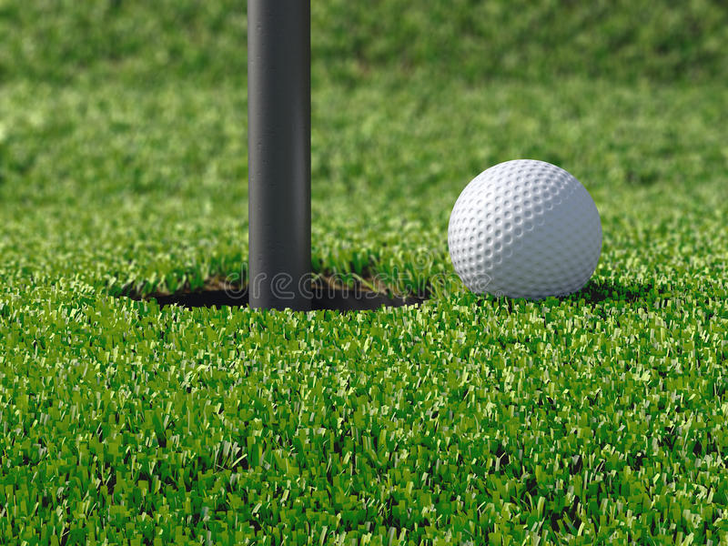 3d Golf ball by hole royalty free illustration