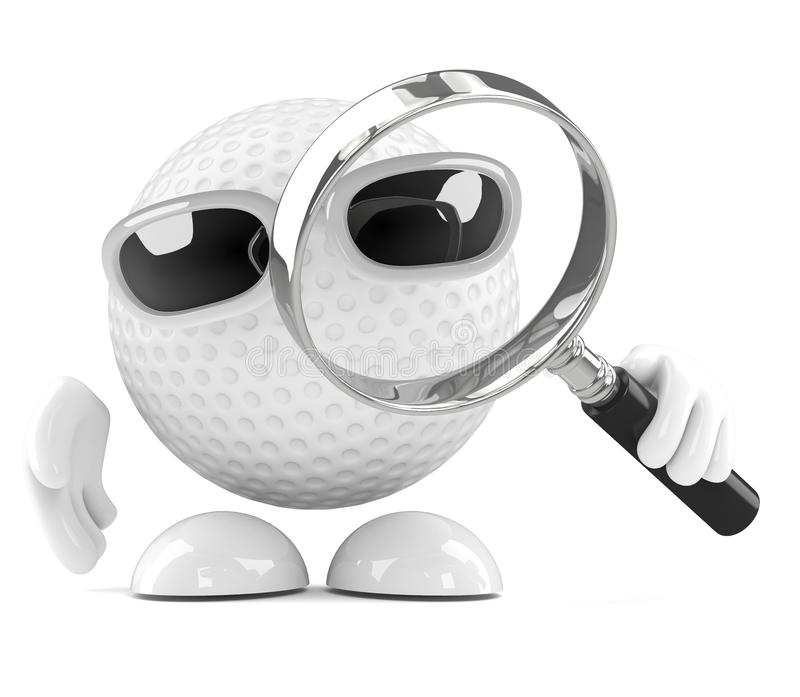Download 3d Golf Ball With Magnifying Glass Stock Illustration - Illustration: 42175141