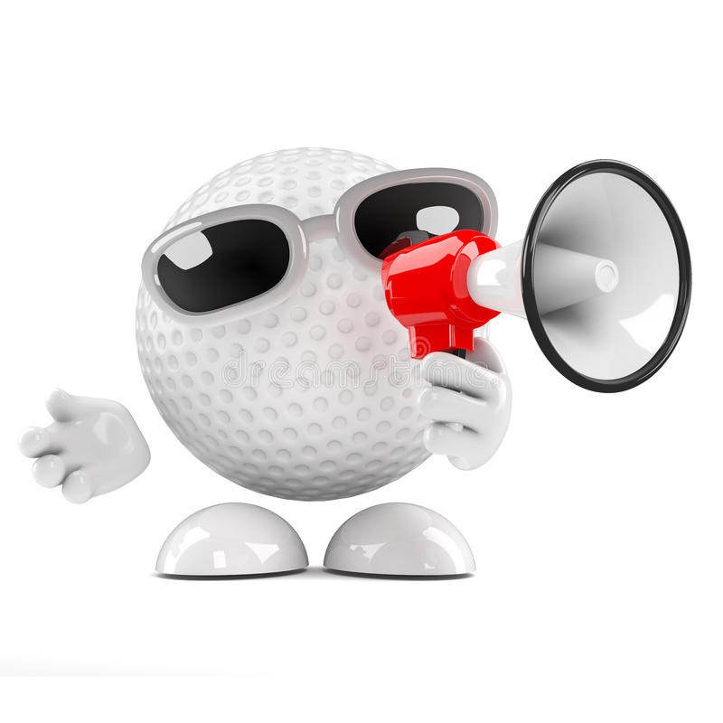 Download 3d Golf Ball With Megaphone Stock Illustration - Image: 42175173