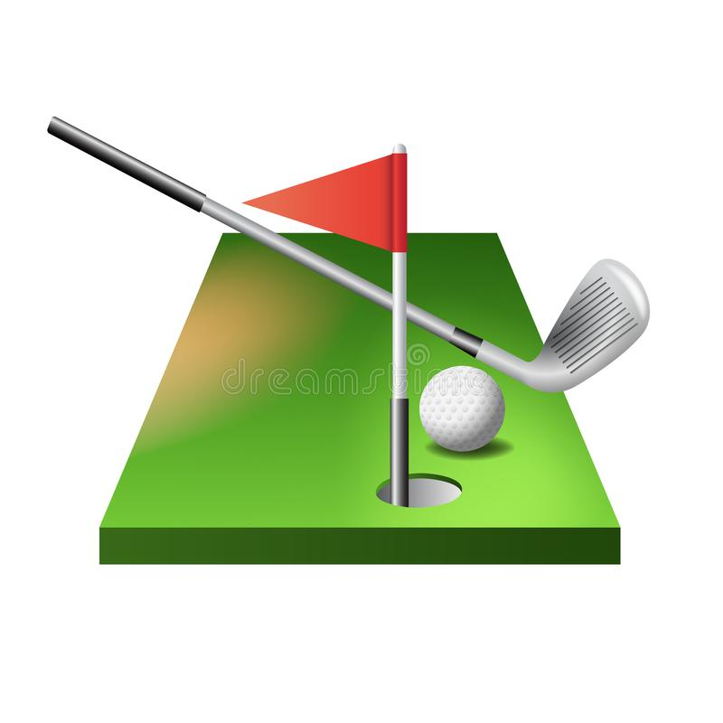 3d golf course with club, ball and red flag in hole isolated on white background, vector illustration. vector illustration