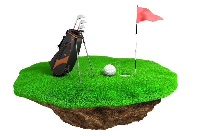 3d golfa pole na zielonej trawy wyspie royalty ilustracja