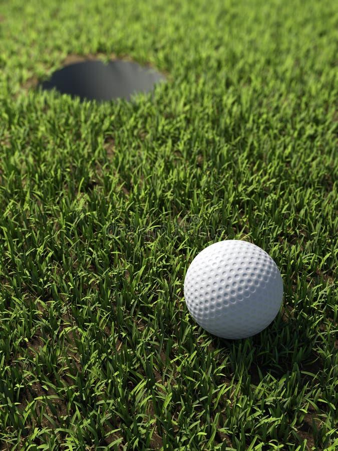 3d Golfbal door gat royalty-vrije illustratie