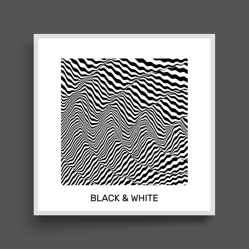 3d golvende achtergrond Dynamisch effect Zwart-wit ontwerp stock illustratie