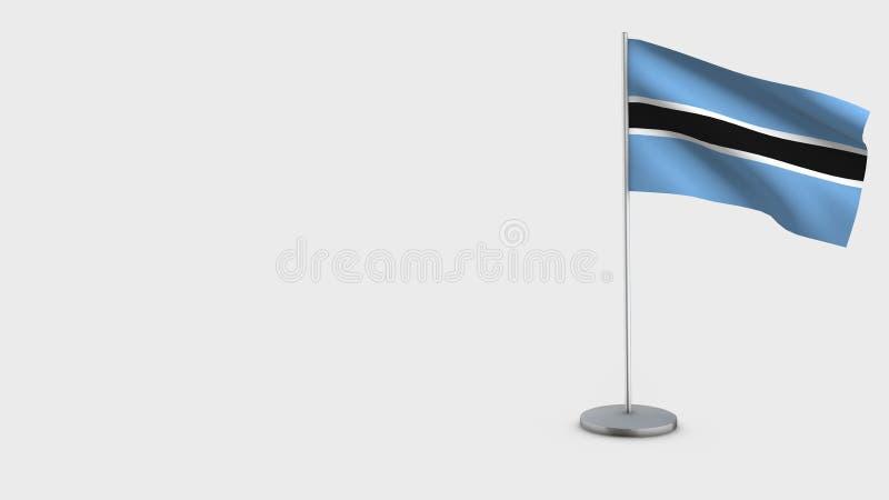 3D golvende de vlagillustratie van Botswana stock illustratie