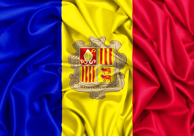 3d golvende vlag van Andorra royalty-vrije illustratie