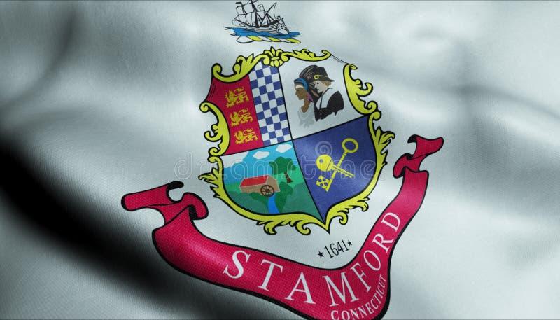 3D Golvende Vlag van Stamford-het Weergeven van de Stadsclose-up stock illustratie