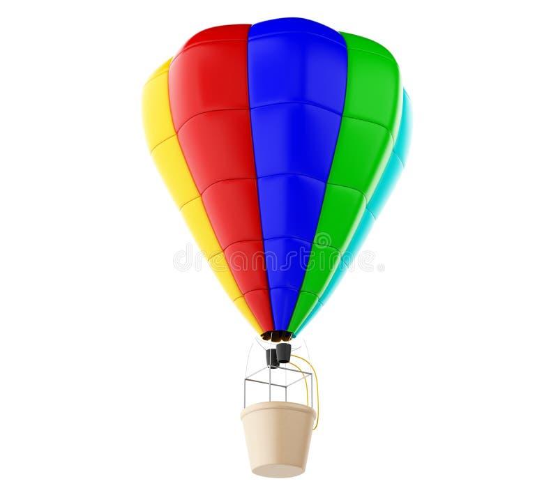 3d gorącego powietrza Kolorowy ballon Odosobniony biały tło ilustracji