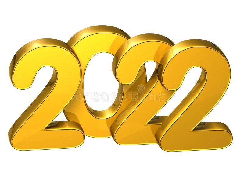 3D Gouden Aantalnieuwjaar 2022 op witte achtergrond stock illustratie