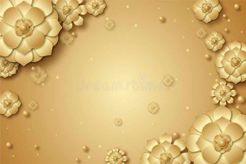 3d gouden bloemen decoratieve achtergrondmuuraffiche royalty-vrije illustratie