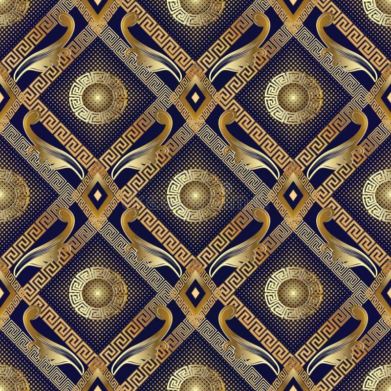 3d gouden halftone bloemen naadloos patroon Vectorsamenvatting geomet royalty-vrije illustratie