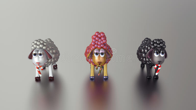 3D Gouden Lammeren! Gelukkig Nieuwjaar! stock fotografie