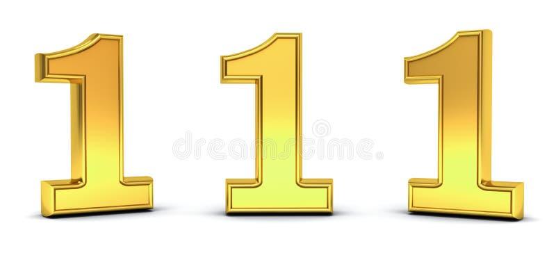3D gouden nummer één, 1, met drie verschillende meningshoeken die op wit worden geïsoleerd vector illustratie
