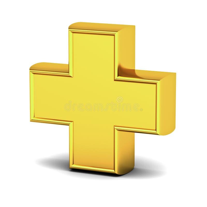 3d gouden plusteken op witte achtergrond met bezinning en schaduw stock illustratie