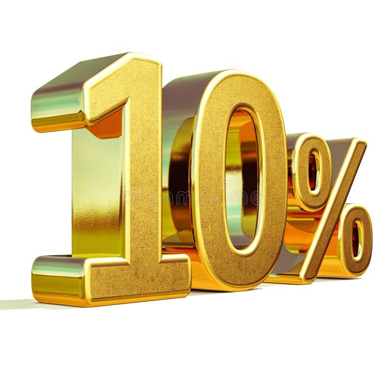3d Gouden Teken van de 10 Tien Percentenkorting stock illustratie