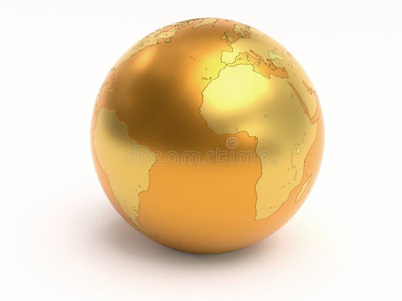 3D gouden Wereldbol stock illustratie