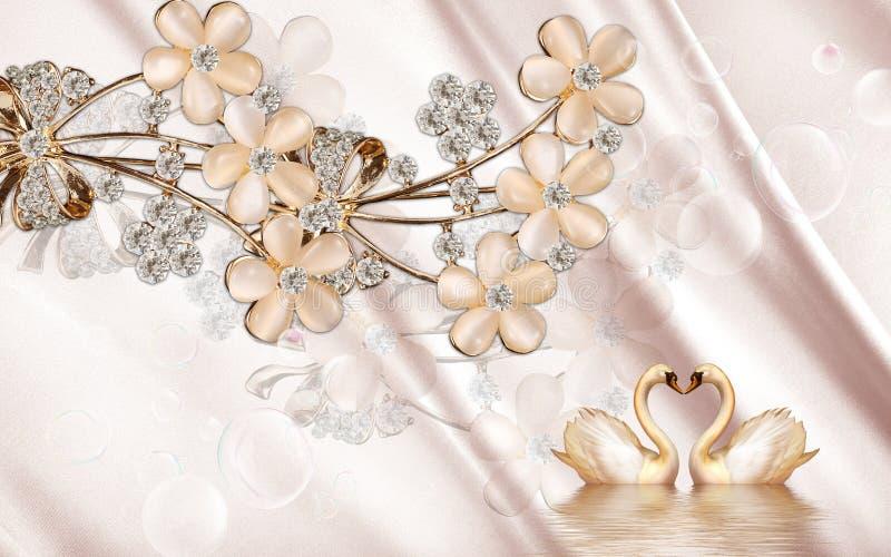 3d Gouden zwaan van de muurschilderingillustratie op water met decoratieve bloemenjuwelen als achtergrond, 3d bal vector illustratie