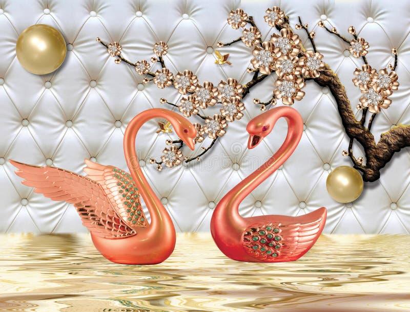3d Gouden zwaan van de muurschilderingillustratie op water met decoratieve bloemenjuwelen als achtergrond, 3d bal stock illustratie