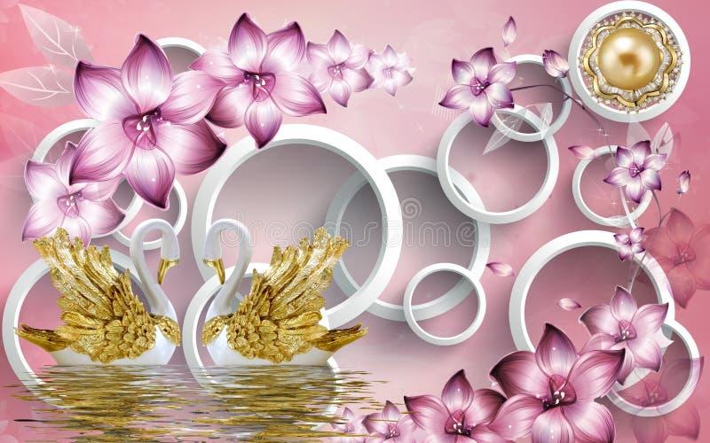 3d Gouden zwaan van de muurschilderingillustratie op water met decoratieve bloemenjuwelen als achtergrond, 3d bal royalty-vrije illustratie