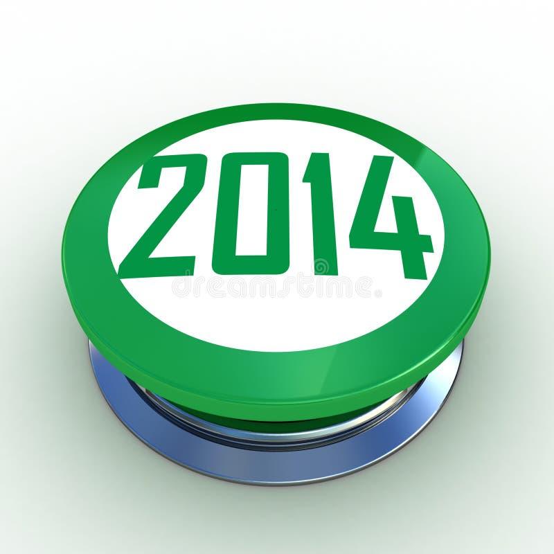 3d grön push för knapp 2014 royaltyfri illustrationer