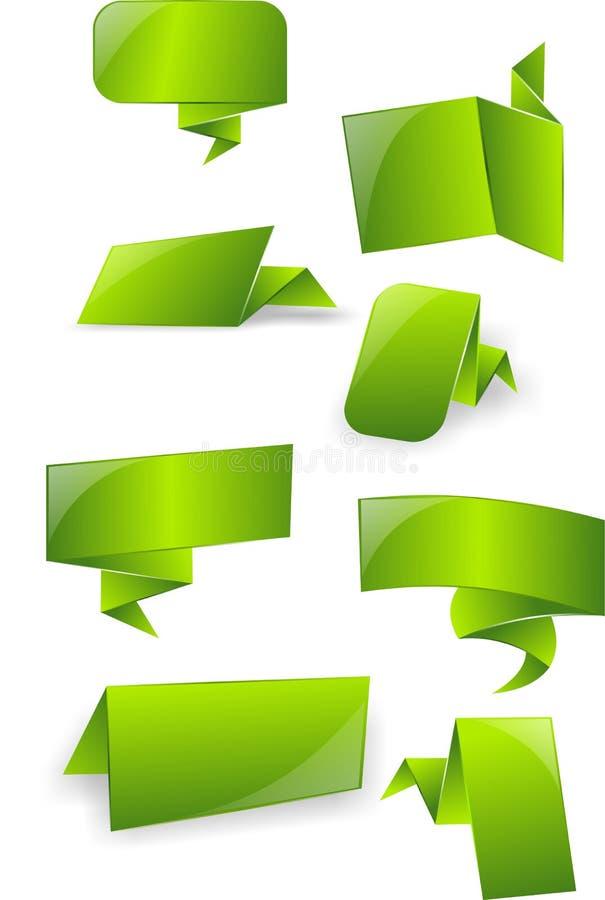 3d grüne glatte Aufkleber, Tags, Fahnen, Blasen, Mitteilung, Karte lizenzfreie abbildung