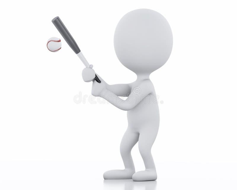 3d gracza baseballa z nietoperzem biali ludzie ilustracja wektor