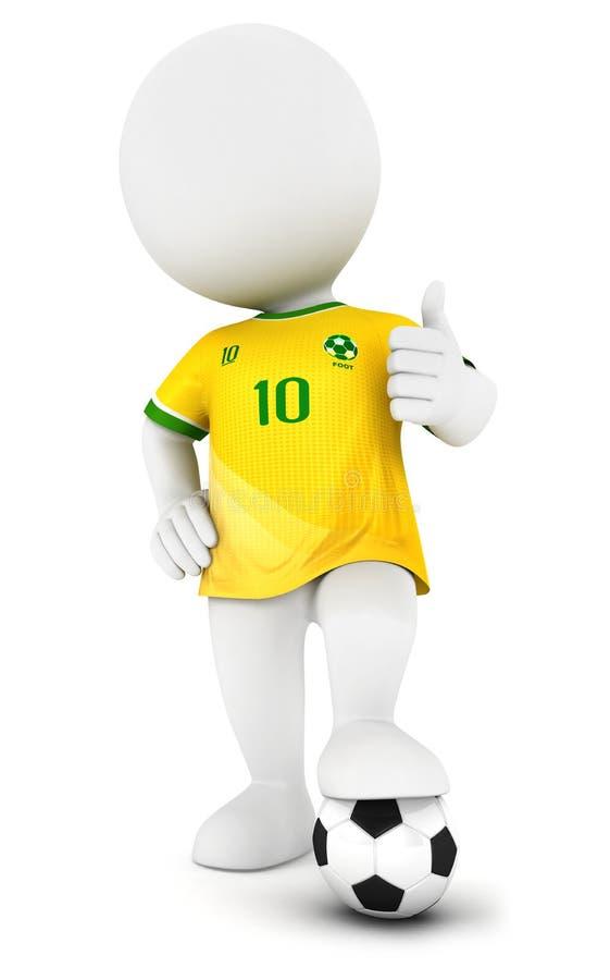 3d gracza piłki nożnej z żółtym bydłem biali ludzie ilustracja wektor