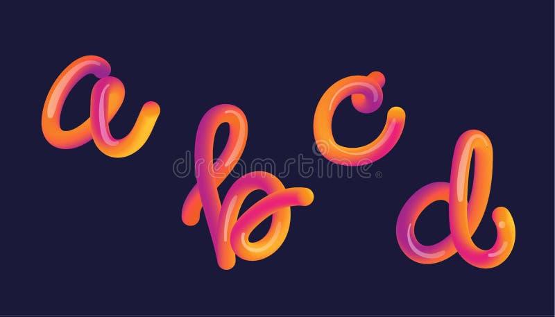 3d gradient lettering. Font set with letter stock illustration