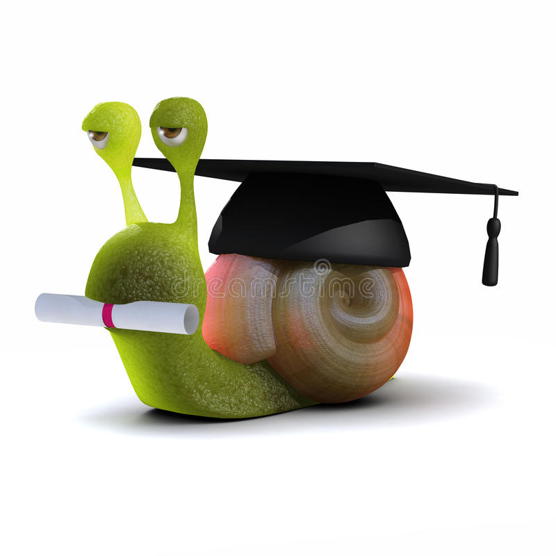 3d Graduate Snail Royalty Free Stock Images