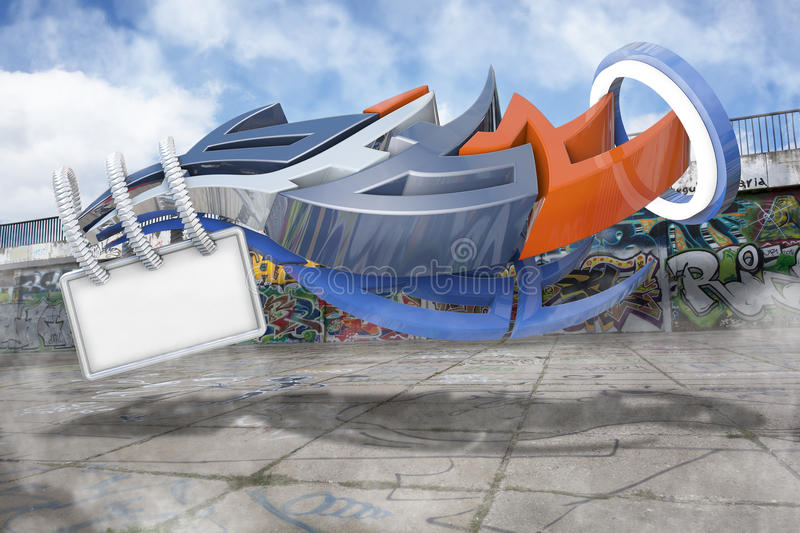 3d graffiti stock image