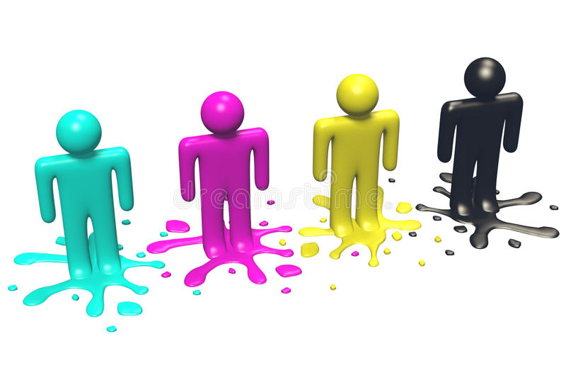 3D grafika, metafory, druk, CMYK, ludzcy charaktery i farba kleksy, ilustracja wektor