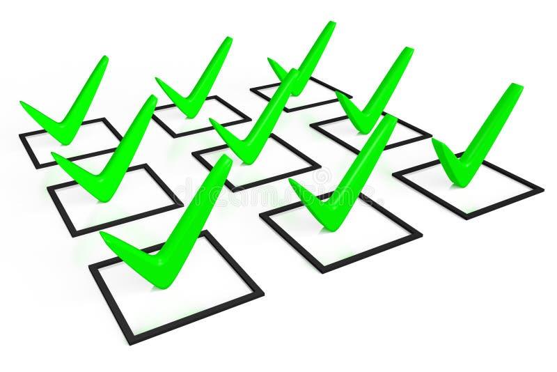 3d Grafiken, Häkchen, korrekt, Checkliste, Grün, Wahl, Lösung, wählend stock abbildung