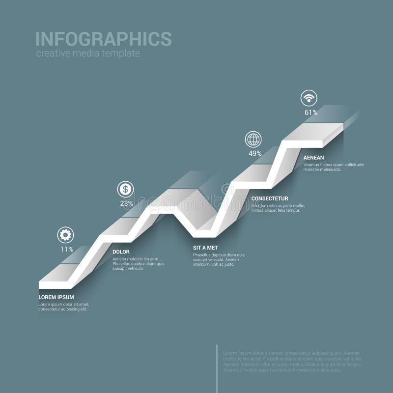 3D grafische Linie infographic Schablonenhintergrund des Vektors stock abbildung
