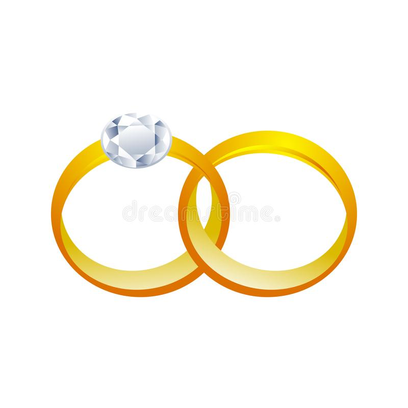 3D Grafische Ontwerp van paar het Gouden Ringen stock illustratie
