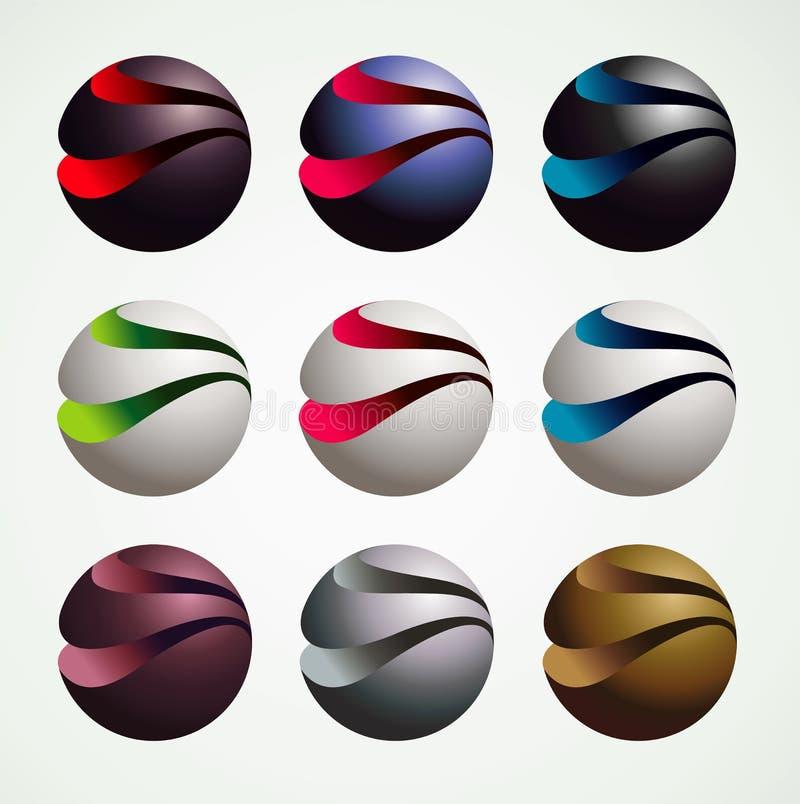 3D Grafische voorwerpen van het Balsymbool, luxe en moderne stijl stock illustratie