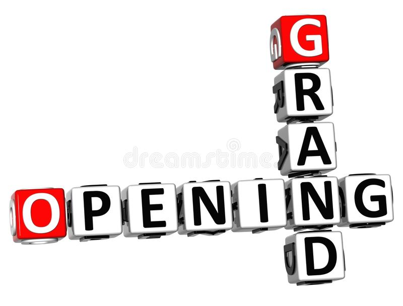 3D Grand Opening Crossword text royalty free illustration
