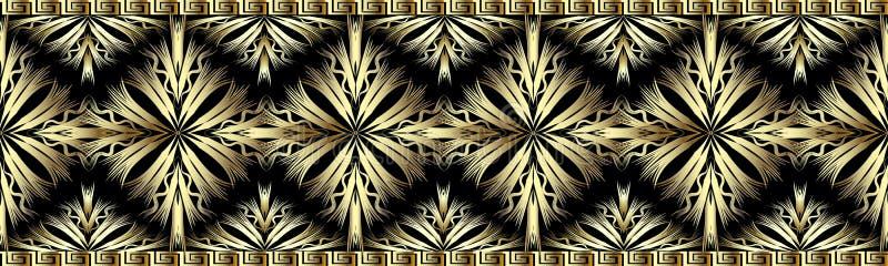 3d granicy złocisty dekoracyjny bezszwowy wzór ilustracja wektor