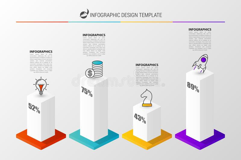 3D graph for infographic. Modern design template. Vector. Illustration vector illustration