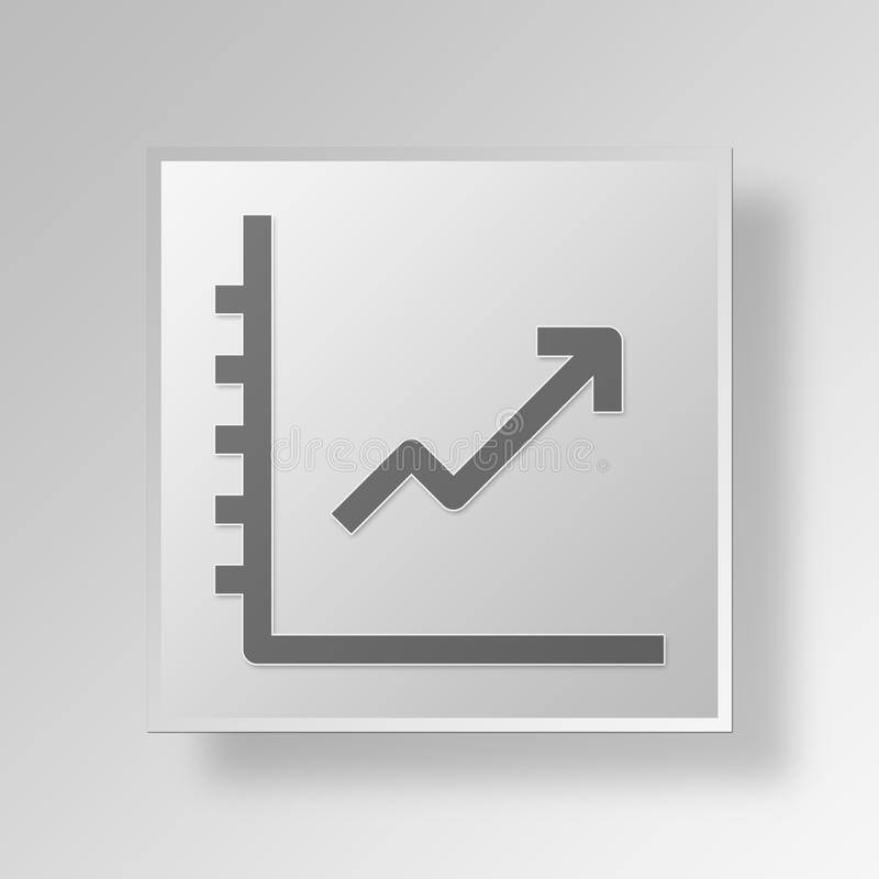 3d Graph Up Button Icon Concept Stock Illustration Illustration Of