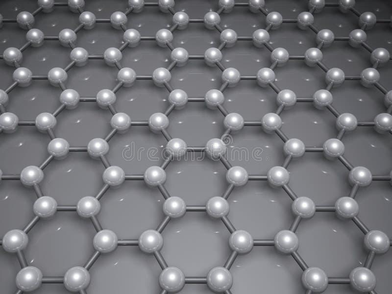 3d graphene结构分子模型 向量例证