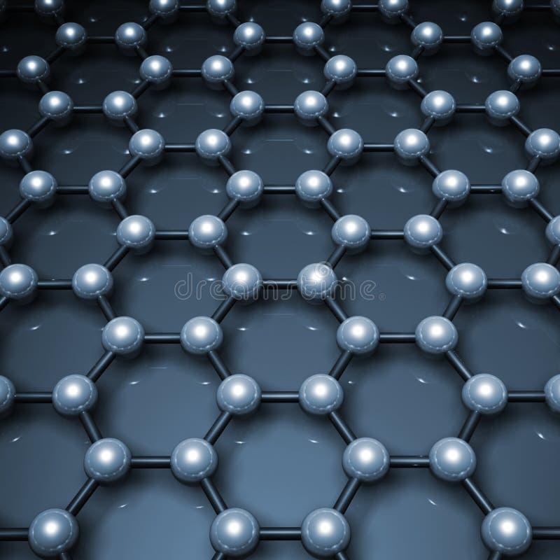 3d graphene结构,蓝色分子模型 皇族释放例证