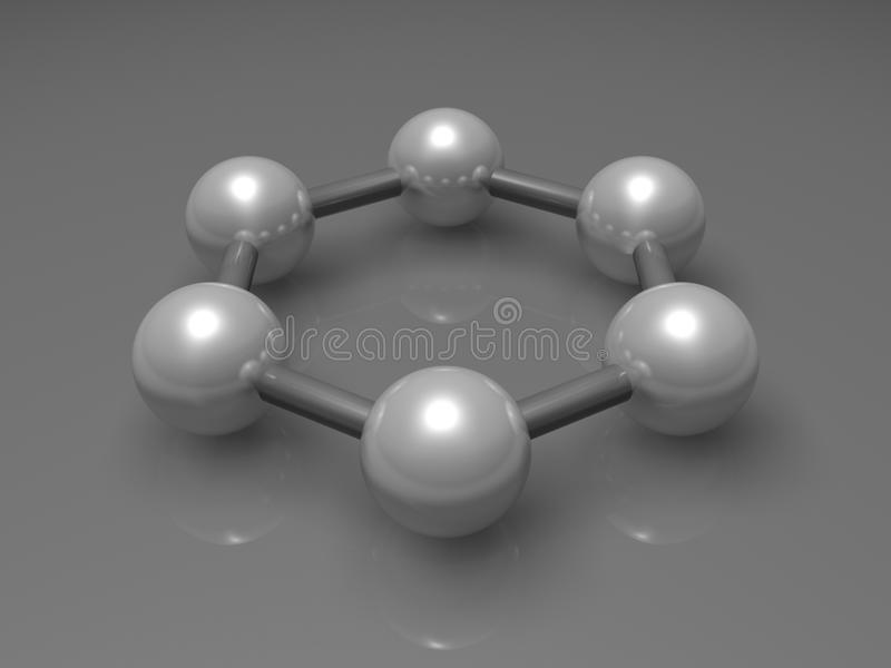 3d graphene aromatic cluster, molecular model. H6 graphene aromatic cluster, schematic molecular model. Hexagonal structure made of carbon atoms. 3d illustration royalty free illustration
