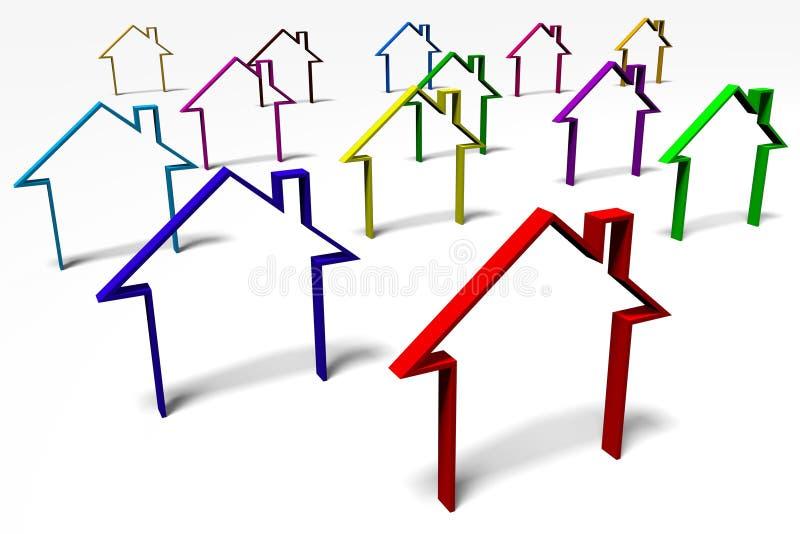 3D graphics, metaphors, real estate, housing problems. 3D graphic in reference to housing problems royalty free illustration