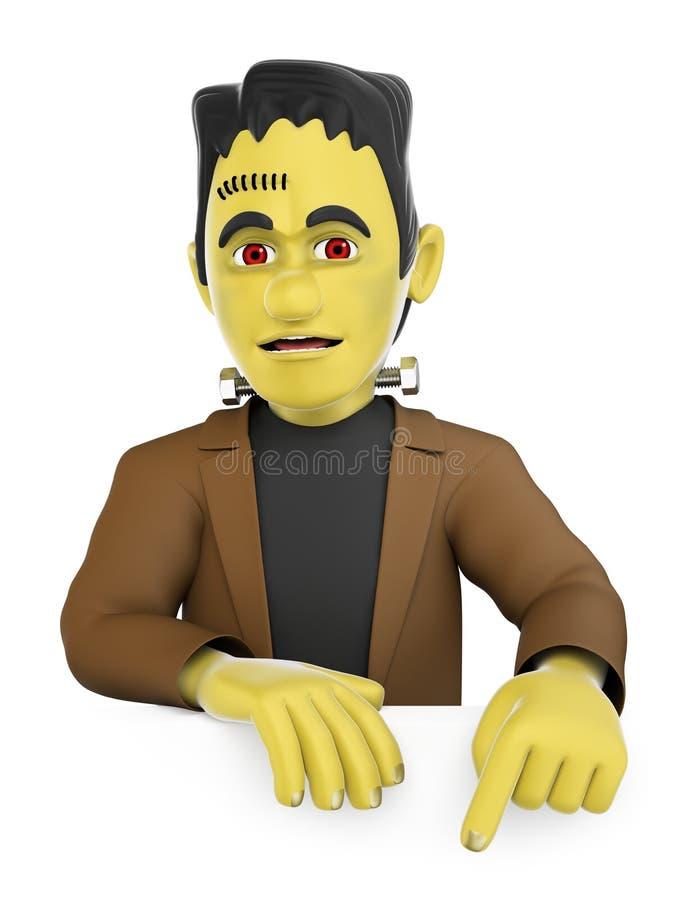 3D Grappig monster Frankenstein die neer richten Lege ruimte hallo stock illustratie