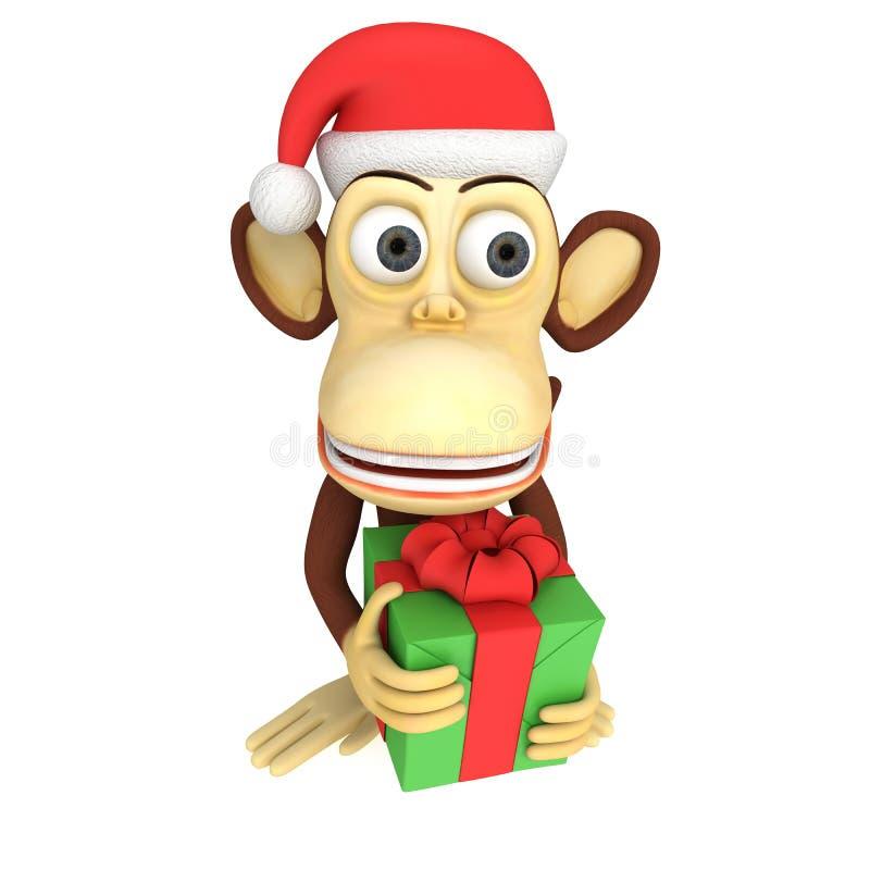 3d grappige aap met gift royalty-vrije illustratie