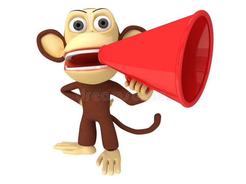 3d grappige aap met reusachtige rode luidspreker stock illustratie