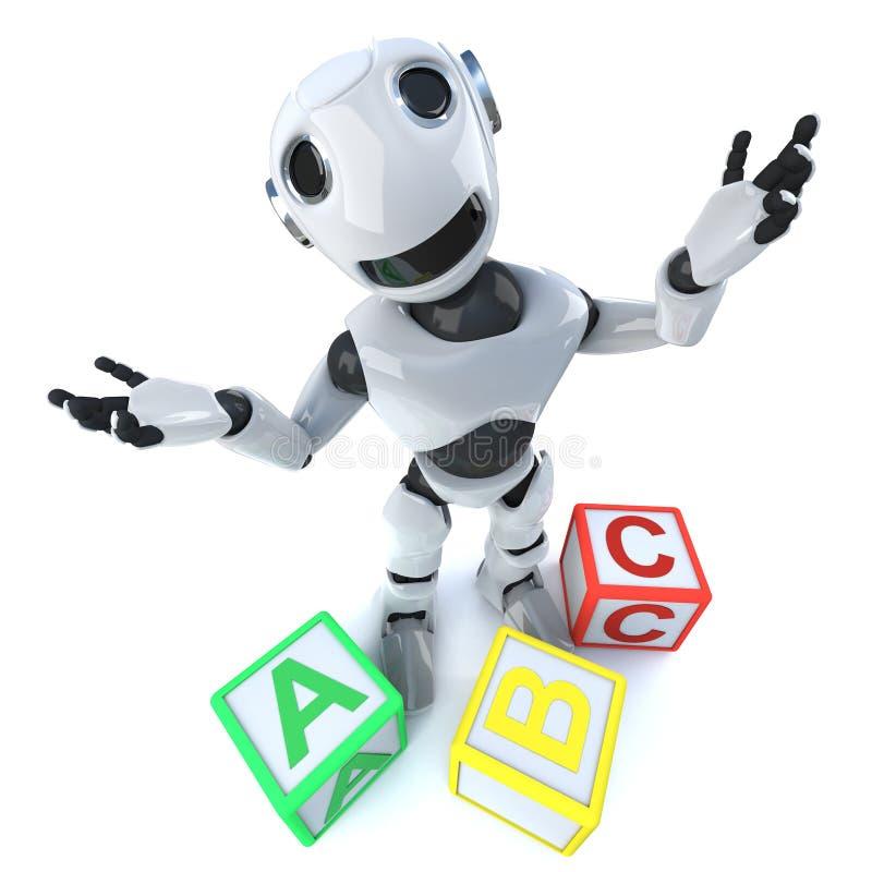 3d Grappige androïde gebruikende het alfabetblokken van de beeldverhaalrobot stock illustratie