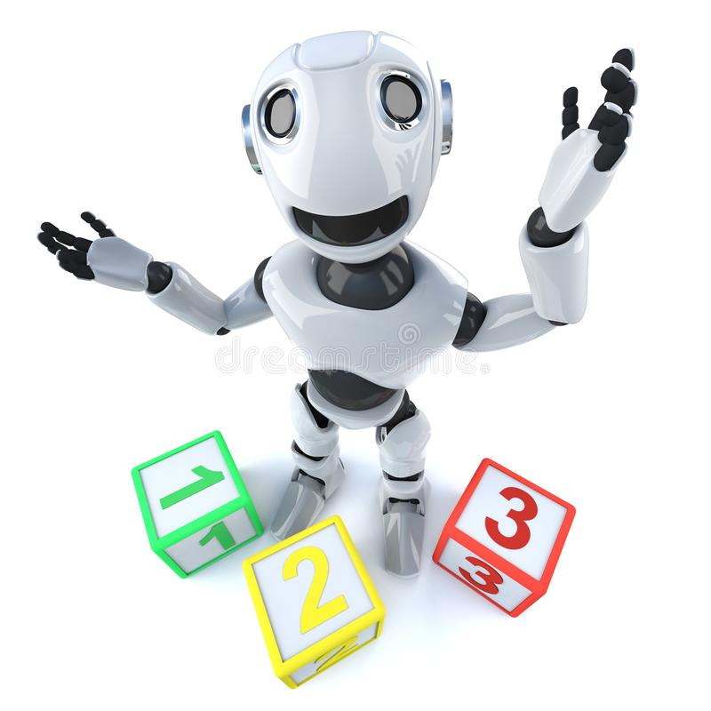 3d Grappige androïde gebruikende tellende blokken van de beeldverhaalrobot stock illustratie