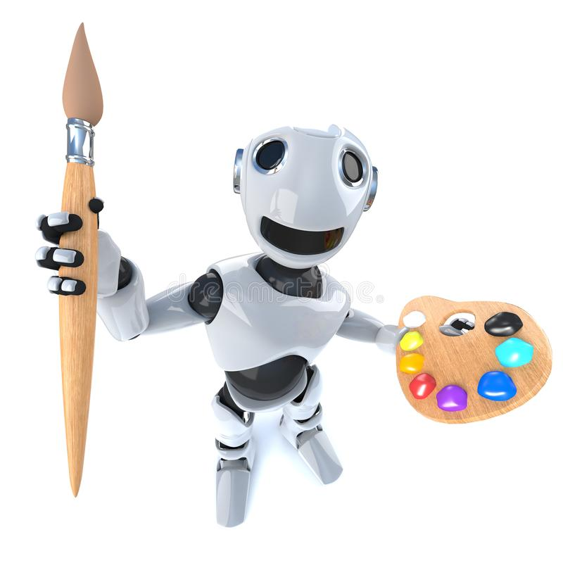 3d Grappige androïde holding van de beeldverhaalrobot een penseel en een palet vector illustratie