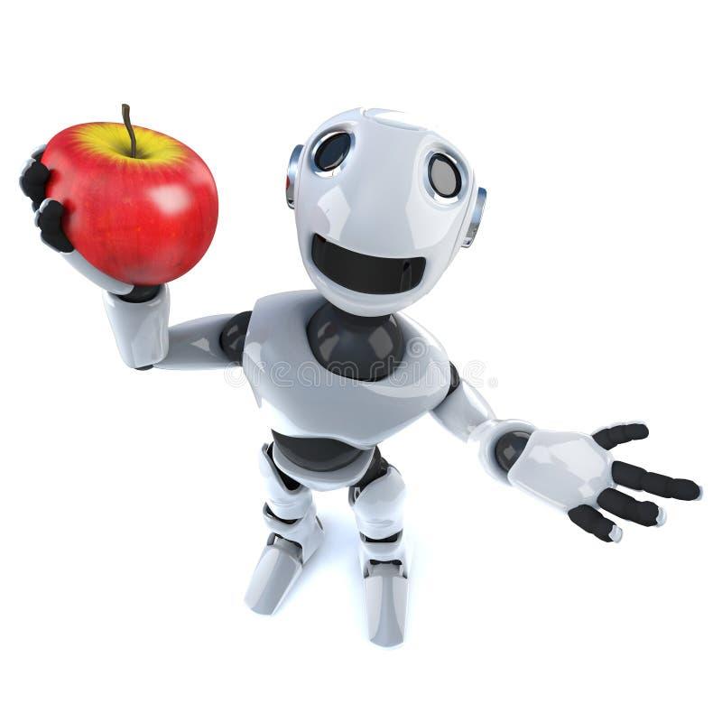 3d Grappige androïde holding van de beeldverhaalrobot een sappige rode appel vector illustratie